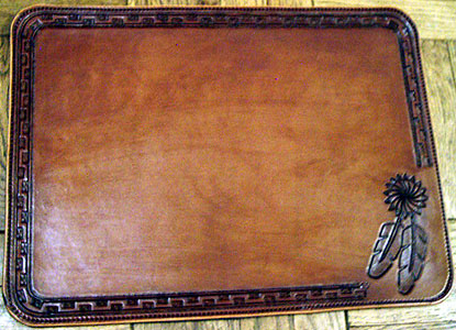 Place Mats Western Decor Custom Leather Placemats Feather Design