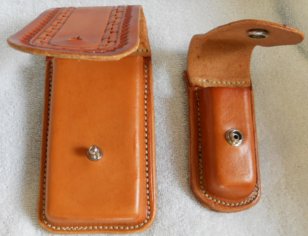 ... on a Cell Phone Case (left), Snap Closure on a Leatherman Case (right
