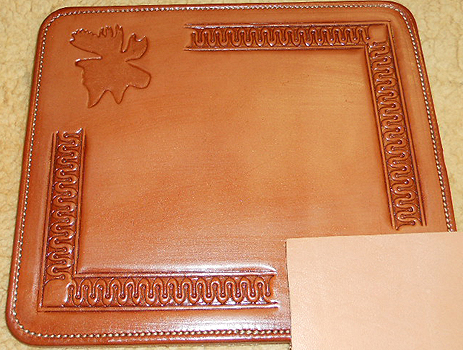 Picture Mouse Pad >> Moose Mouse Pad, Hand Tooled Leather, Custom Leather Mouse Pad
