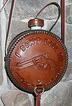 Old West Pistol Canteen, Hand Tooled Leather Western Canteen Saddler